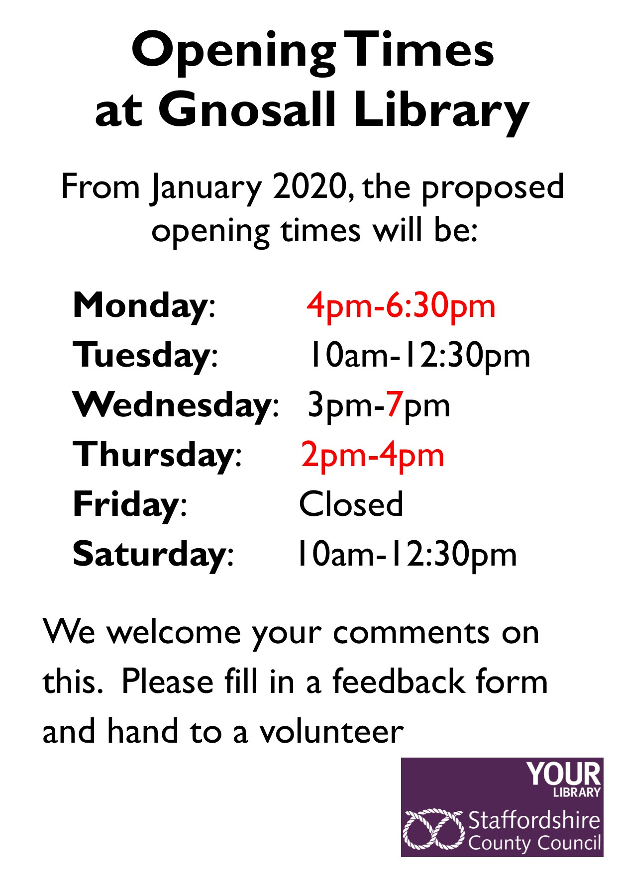 Change of Gnosall CML Opening Hours